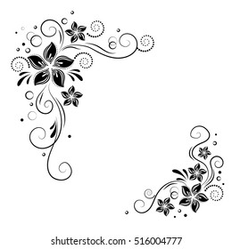 Floral corner design. Ornament black flowers on white background - vector stock. Decorative border with flowery elements,  pattern.