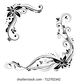 Floral corner design. Ornament black flowers on white background - vector stock. Decorative border with flowery elements, pattern. Wedding card with flourish swirl and circles