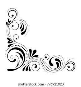 Floral corner design. Swirl ornament isolated on white background - vector illustration. Decorative border with curve elements, pattern