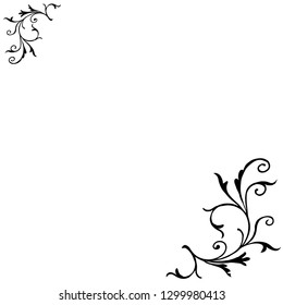 Floral corner element of vector. Design swirl of black on white background. Design print for illustration, element, frame, embroidery, background, card.