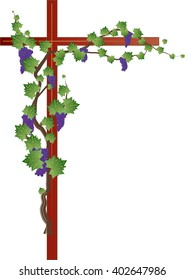 Floral corner frame with grapevine, grape clusters on a vine tree with a cross, with copy space for text.