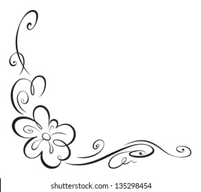 Floral corner vignette. Vector illustration