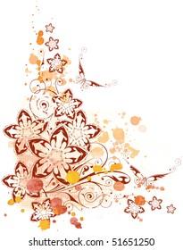 floral corner. watercolor background