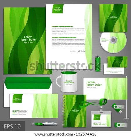 floral corporate identity template leaves vector stock vector