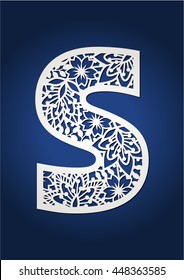 Floral cutout monogram initial letter S. May be used for paper cutting. Fancy alphabet letter. Monogram letter S. Secret garden abc.