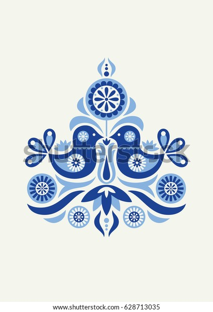 Floral Danish Folklore Poster Vector Illustration Stock