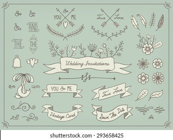 Floral decor set. Set of cute retro flowers perfect for wedding invitations and birthday cards