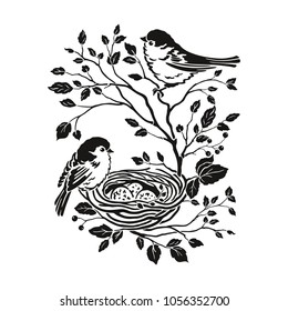 Floral decor with silhouettes family birds on branches tree with leaves and nest egg. Vector isolated illustration in vintage style for your design.