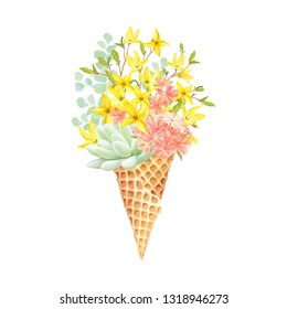 Floral decor with Succulent, flowers Forsythia and Phlox in waffle cone. Vector illustration in vintage watercolor style.
