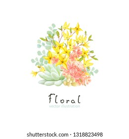 Floral decor with Succulent, flowers Phlox and Forsythia. Vector illustration in vintage watercolor style.