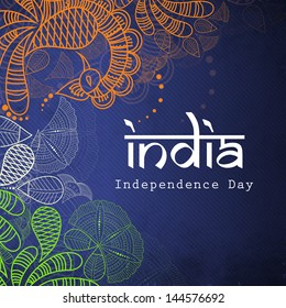 Floral decorated Indian Independence Day background.