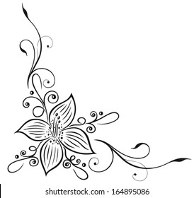 Floral decoration with large lily, illustration