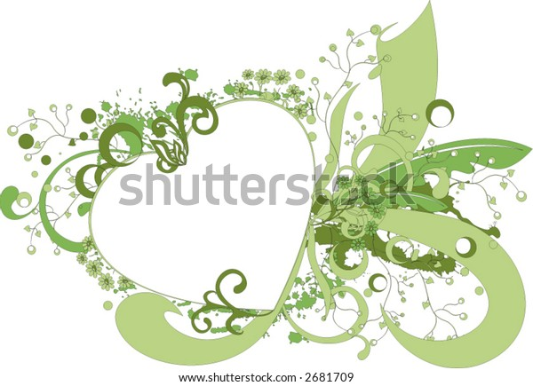floral decoration on grunge background with space for text - vector