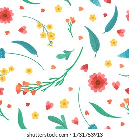 Floral decorative backdrop. Flowers blossoms and leaves flat vector retro seamless pattern. Abstract wildflowers on white background.Blooming meadow plants. Vintage textile, fabric, wallpaper design