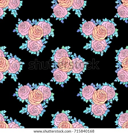 Floral Decorative Bright Wallpaper Cute Roses Stock Vector