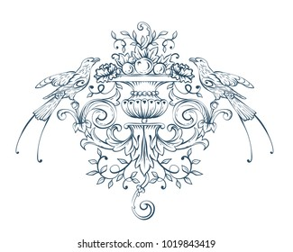 Floral decorative vector elements with birds, rococo and baroque style