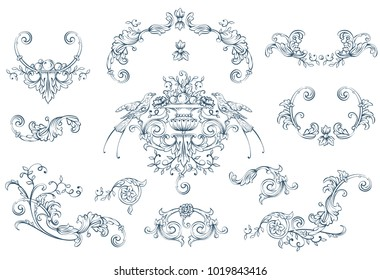 Floral decorative vector elements set, rococo and baroque style