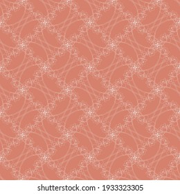 Floral delicate seamless vector pattern. Hand drawn Criss crossed white flower lace on orange background. Great for spring wallpaper, invitations, interior design projects and fashion.