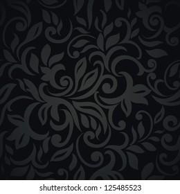 Floral design, black elegant style Seamless Wallpaper