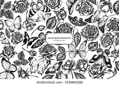 Floral design with black and white menelaus blue morpho, giant swordtail, blue morpho, lemon butterfly, red lacewing, african giant swallowtail, alcides agathyrsus, wallace s golden birdwing, purple