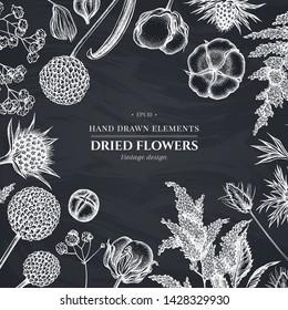 Floral design with chalk astilbe, craspedia, blue eryngo, lagurus, cotton, gypsophila