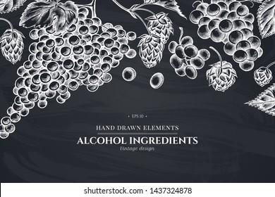 Floral design with chalk grapes, hop