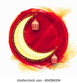 Floral design decorated crescent moon with hanging lamps on creative background for Islamic Festival celebration.