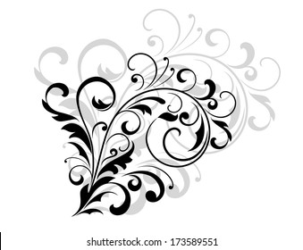 Floral design element with swirling leaves as a simple black silhouette with a grey enlarged repeat design behind on white