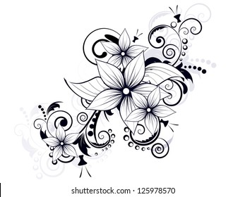 floral design element with swirls for spring