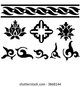 floral design elements, icons and borders