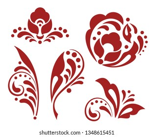 Floral design elements in russian traditional folk style. Monochrome hohloma decor elements. Ethnic floral ornament with leaves, flowers, berries. Isolated vector elements for decoration and design.