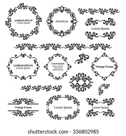 Floral design elements set, ornamental vintage frames, borders in black color. Page decoration. Vector illustration. Isolated on white background. Can use for birthday card, wedding invitations.