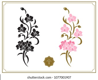 Floral design elements, stencil. Original decoration with branches of exotic tropical flowers. Fine decor with orchids flowers.
