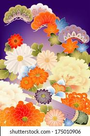 Floral design elements from vintage kimono