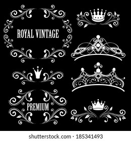 Floral design elements, vintage royalty frames with crowns, ornamental style diadems in white color. Vector illustration. Isolated on black background.