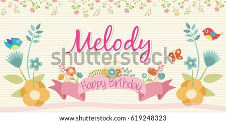floral design happy birthday banner stock vector royalty free