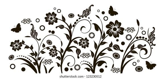 floral design, interior sticker