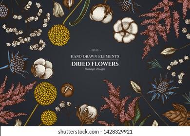 Floral design on dark background with astilbe, craspedia, blue eryngo, lagurus, cotton, gypsophila