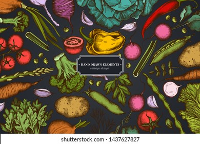 Floral design on dark background with onion, garlic, pepper, broccoli, radish, green beans, potatoes, cherry tomatoes, peas, celery, beet, greenery, chinese cabbage, cabbage, carrot
