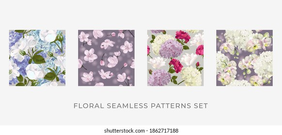 Blumendesign für Papier, Deckel, Stoff und andere Verwender. Realistische, nahtlose Muster aus Blumen.