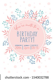 Floral Design In Pastel Colors For Invitation To Birthday Party Vector Illustration