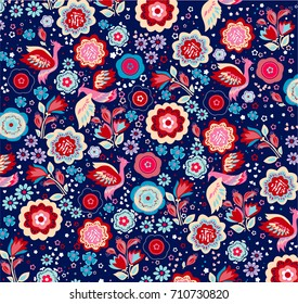 Floral design pattern, bright flowers and firebirds, kids print