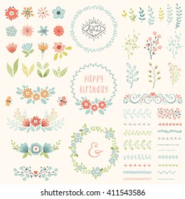 Floral design set. Vector collection with spring and summer elements, flowers, wreaths, branches, frames, butterflies, pattern brushes. Good for  birthday cards, wedding invitations and scrapbook.