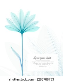 Floral design template. Flower x-ray effect. Greeting card ot advertising flyer