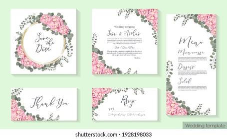 Floral design for wedding invitation. Gold round frame, pink hydrangea, green plants, eucalyptus. Invitation card, thanks, rsvp, menu.
