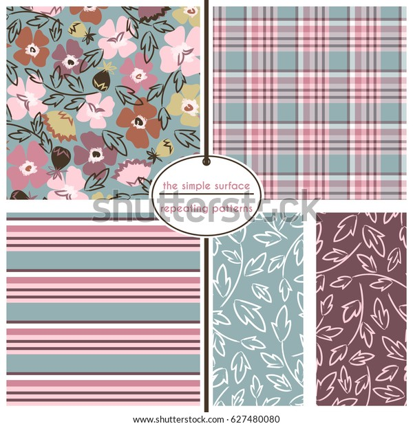 Floral Ditsy Pattern Coordinating Plaid Stripe Stock Vector