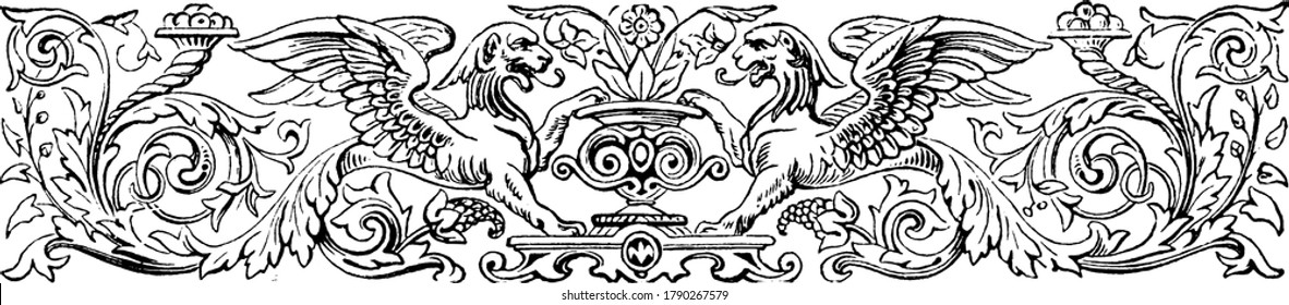 Floral Divider with design of flowers and leaves along with winged lions and fountains, vintage line drawing or engraving illustration.
