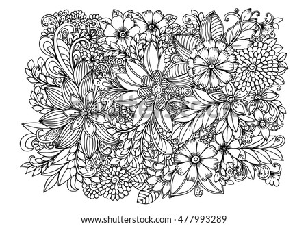 Floral Doodle Pattern Black White Zentangle Stock Vector ...