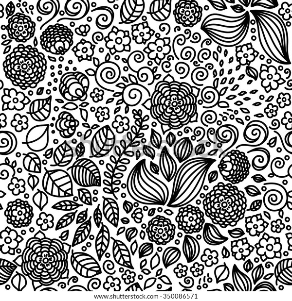 Floral Doodle Seamless Pattern Coloring Pages Stock Vector (Royalty Free)  350086571