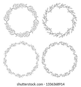 floral doodle spring wreath eps10 vector illustration